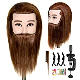 """ISHOT Male Mannequin Head,12"""" Doll Head,Training Head,With 100% Real Human Hair for Hairdressers,Hair Stylists,Cosmetologist,Barber Shop and Cosmetology School"""