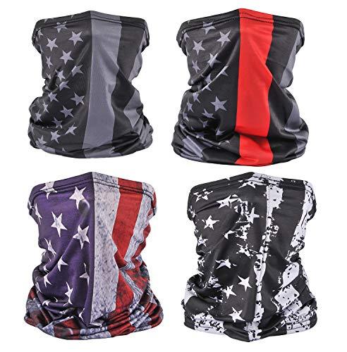 4 Pack American Flag Face Bandana Neck Gaiter Sun UV Protection Face Scarf Cover Balaclava for Running Hiking Fishing(4PCS Flag1)