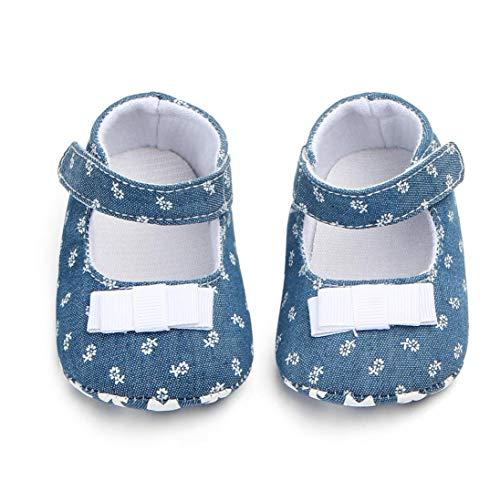 Unisex-Baby-mädchen-Baumwollschuhe Antiskid Sole-Blumen-drucken Magie Aufkleber Indoor Prewalker Schuhe Sneaker Weiß 13cm