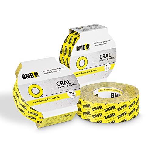 3 x BMD - cral Hochleistungsklebeband (Gelb - 60mm x 40lfm) zur Verklebung von Dampfsperrfolie Dampfbremsfolie nach DIN Norm 4108 Teil 7 OSB Klebeband