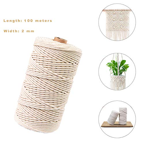 Sunshine smile naturliches Baumwolle Garn,Baumwollgarn Basteln,baumwollkordel weiß,Kordel DIY Handwerk,makramee garn(100M-2mm)