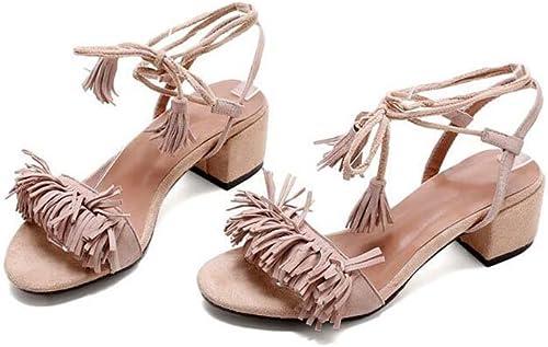 SHINIK Chaussures pour femmes Sandales Cuir d'été Gland Sangle à bout ouvert Talons hauts