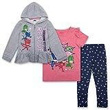 PJ Masks Toddler Girls Set - Catboy, Gekko & Owlette - Owlette Hoodie, T-Shirt & Sweatpants Set (Grey/Pink/Blue, 3T)