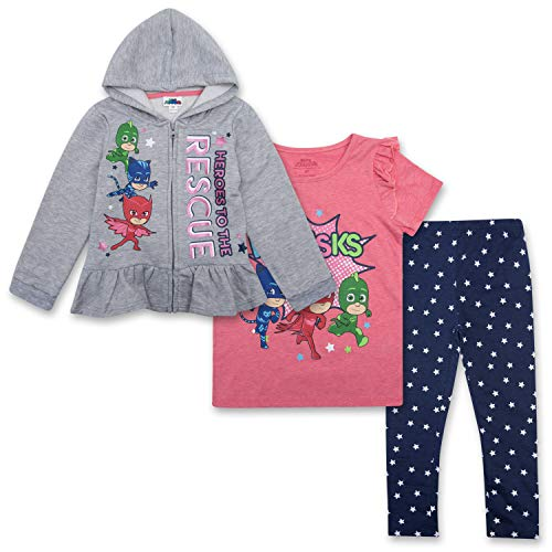 Price comparison product image PJ Masks Toddler Girls Set - Catboy,  Gekko & Owlette - Owlette Hoodie,  T-Shirt & Sweatpants Set (Grey / Pink / Blue,  4T)