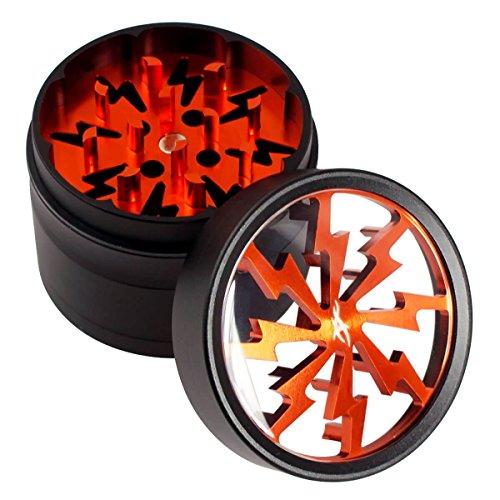 Thorinder 50mm Mini Kräutermühle, 4-teilig, Farbe orange, Crusher Premium Qualität Aluminium mit Pollen-Sieb & Gratis Schaber