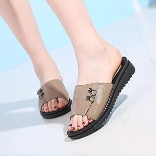 ZUOX Sandales Natation Homme,Chaussures antidérapantes à Semelle Souple en Cuir d'été pour Femmes, Sandales d'âge Moyen et...