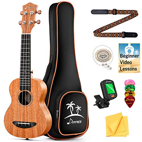 Donner Soprano Ukulele Beginner Kit Mahogany Professional 21 inch Ukelele Online Lesson Gig Bag Strap Nylon String Tuner Picks Cloth DUS-1 Ukele Ukalalee Set