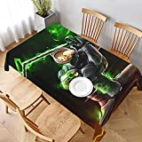 PVC Waterproof Oil-Proof Reusable Tablecloth Shuriken-Genji Rectangular Tablecloth Washable Table Cover for Kitchen Cafe Camping 60'x90'