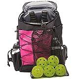 Athletico Pickleball Backpack - Pickleball Bags for Men or Women Includes Pickleball Ball Holder (Pink)