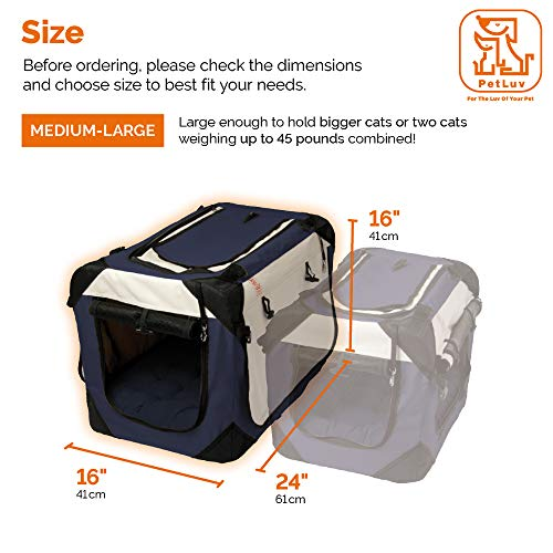 PetLuv Happy Cat Premium Cat Carrier Soft Sided Foldable Top & Side Loading Pet Crate & Carrier Locking Zippers Shoulder Straps Seat Belt Lock Plush Pillow Reduces Anxiety