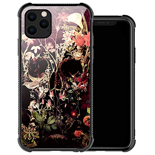 Compatible with iPhone 12 Pro Max Case,Flower Skull iPhone 12 Pro Max Cases for Women Girls,Anti-Slip Drop Protection with Soft TPU Bumper Pattern Design Case for Apple iPhone 12 Pro Max