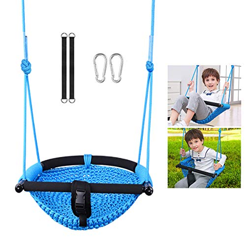 LadyRosian Swing Sets for Backyard - Hand Knitting Adjustable Rope Baby Swing Seat - Outdoor/Indoor Swing for Kids with Safety Bar, Blue
