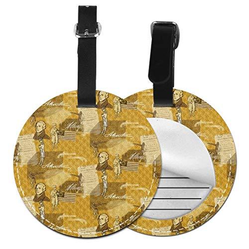 Alexander Hamilton - Juego de etiquetas de equipaje para maleta de piel personalizada, accesorios de viaje redondos, etiquetas de equipaje