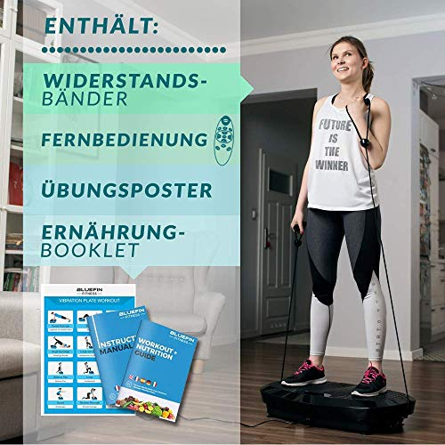 Bluefin Fitness Dual Motor 3D Power Vibration Plate | Oscillation, Vibration + 3D Motion | Huge Anti-Slip Surface | Bluetooth Speakers | Lose Fat & Tone Up at Home | UK Design (Black)