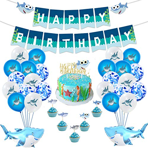 FLYFLY Decoración Fiesta de Cumpleaños del Tema mar Delfín Cáscara de Animales MarinosEstrella Pancarta de cumpleaños con Globos de látex para CUMPLEAÑOS BEBÉ