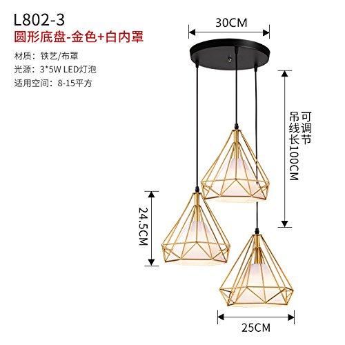 Luckyfree Creative Modern Mode hanger spots licht plafondlamp slaapkamer woonkamer keuken 3-disc goud + witte afzuigkap 5W LED