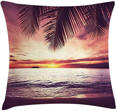 Ocean Throw Pillow Cojín,Imagen de una Isla Tropical con Las Palmeras y el Estampado del Tema Clear Sea Beach,Funda de Almohada Decorativa Cuadrada Decorativa,45 x 45 cm,Azul Turquesa