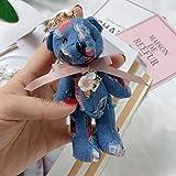 Zcm Peluches Llavero 12cm Oso Lindo de la Felpa de la muñeca Llavero Juguetes de Peluche Arco-Nudo de Vaquero del Oso de Peluche de Felpa Colgante muñeca rellena (Color