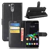 Guran® PU Ledertasche Hülle für Oukitel K6000 Pro Smartphone Flip Deckung Standfunktion & Karte Slot Handykasten Etui-schwarz