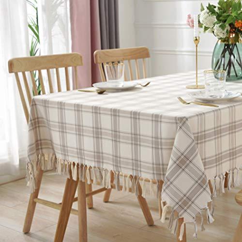 Meiosuns Tischdecke rechteckig Tischdecke Plaid Quaste Tischdecken Baumwolle Leinen Tischdecke für Küche Essen Bauernhaus Tischdekoration, Aprikose, 135 x 135 cm