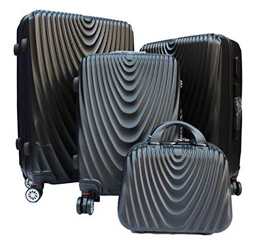 R.Leone Valigiada 1 pezzo Fino a Set 4 Trolley Rigido grande, medio, bagaglio a mano e beauty case 4 ruote in ABS 2011 (Nero, Set 3 S M L)