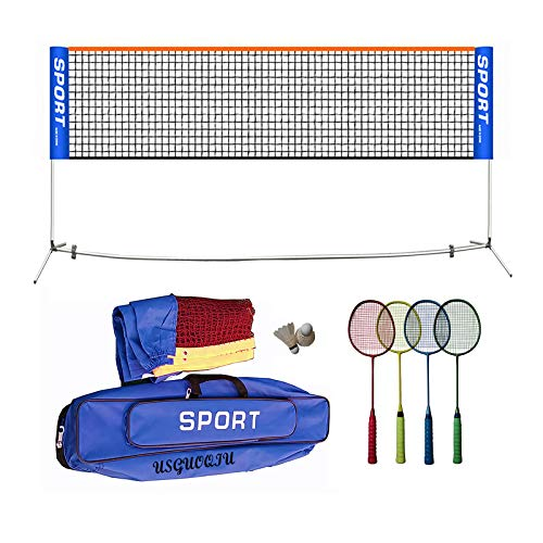 Badminton Set, Tennis net, Volleyball net Stainless Steel Tube with 4 Sets Badminton Rackets 2 Shuttlecock for backyards, Park(6.5m Long)