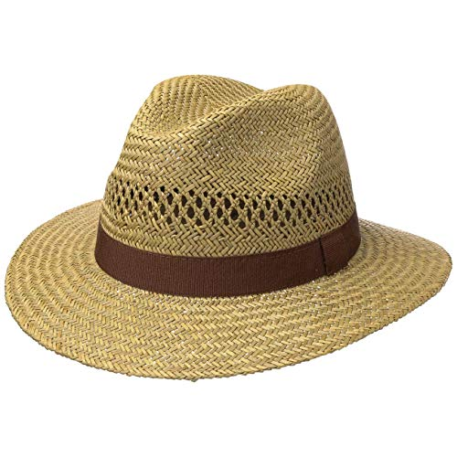 Lipodo Classic Traveller Strohhut für Damen und Herren - Größse M 56-57 cm - Sonnenhut aus 100% Stroh - Farbe Natur - Sommerhut mit braunem Ripsband - Hut gegen Sonne im Sommer
