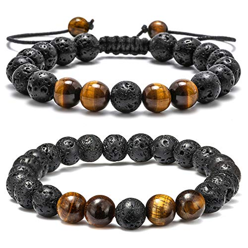 M MOOHAM Natural Bead Bracelet, 8mm Gem Semi Precious Stone Round Bead Black Lava Rock and Tiger Eye Beads Bracelet, Men Women Stress Relief Yoga Beads Adjustable Bracelet Energy Stone Bracelet