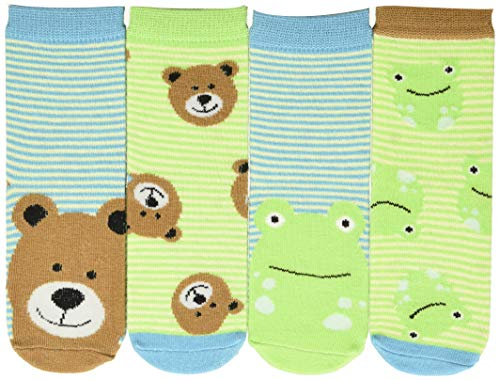 FlapJackKids Calzini Rana E Orso Chaussettes, Multicolore (Frog/Bear Frog/Bear), Unique (Taille Fabricant: Large) (Lot de 4) Mixte bébé