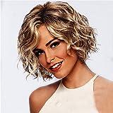 Andouy Perruque Cheveux Femme Dentelle Perruque Bouclés Courte Femme Naturelle Brésilien Perruque D'or