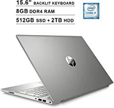 HP Pavilion 15.6 Inch Touchscreen Laptop - Intel Quad Core i7-8550U up to 4.0 GHz, Intel UHD 620, 8GB DDR4 RAM, 512GB SSD (Boot) + 2TB HDD, Backlit KB, HDMI, Bluetooth, WiFi, Windows 10, Silver