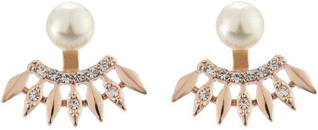 Shineweb Women Rhinestone Faux Pearl Fan Shape Ear Jackets Earrings Jewelry Gift