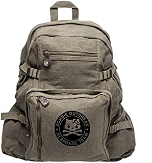 Zombie Outbreak Response Team Hello Kitty Backpack Bag, Olive & Black (large)