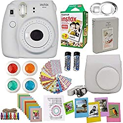affodable Fujifilm Instax Mini9 Instant Camera Smoky White + Dual FujiInstax Film Kit (20 Pieces) + Camera Bag + Frame + Photo Album + 4 Color Filters and Other Best Accessory Kits