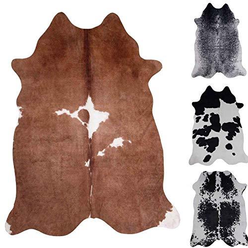 VIMODA Kuhfell Teppich aus Kunstfell Fellimitat Robust Pflegeleicht in versch. Farben, Farbe:Grau, Size:155x190