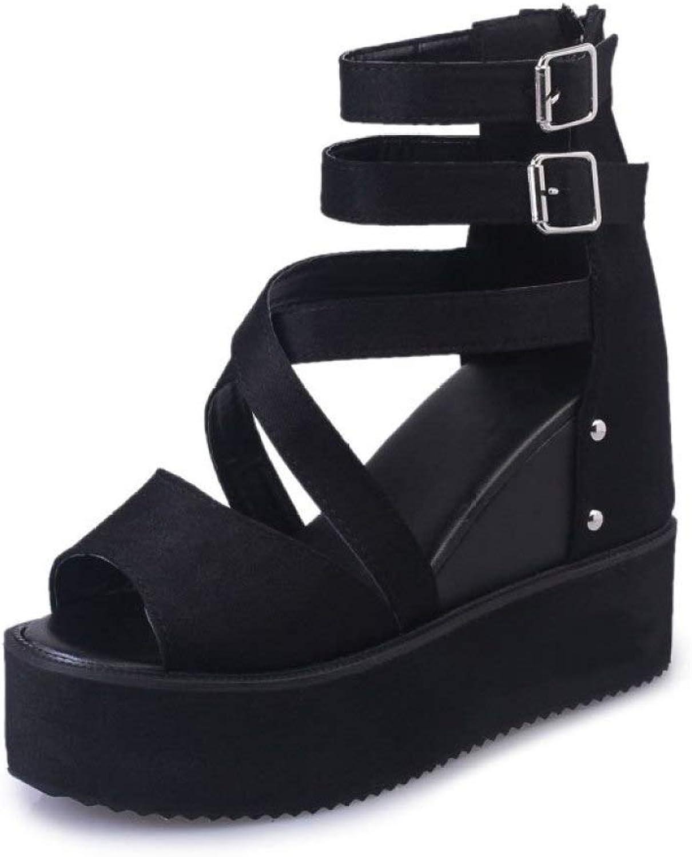 MEIZOKEN Women's Wedges Platform Sandals Gladiator Crisscross Double Buckle Peep Toe Hidden Heel Zipper Booties