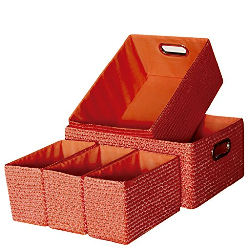 laroom 13061 – Set 5 paniers, Couleur Orange