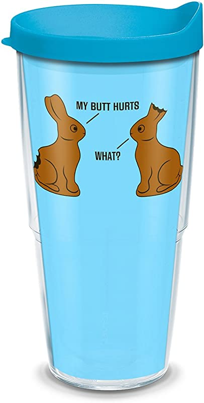 Tervis 1290006 Snorg Tees Chocolate Bunnies Insulated Tumbler With Wrap And Turquoise Lid 24 Oz Tritan Clear