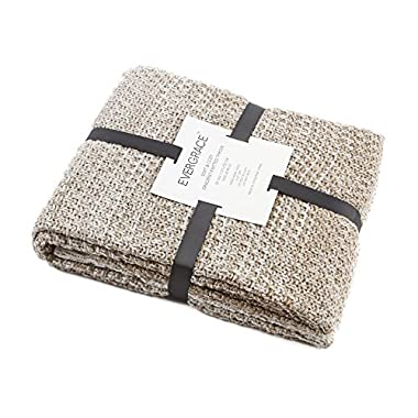 EverGrace Knitted Throw Blanket for Sofa or Couch, Soft & Cozy Gradient Cream Knit Throw Textured Ombré Effect for home Décor 100% Acrylic W50 x L60 (Cream)