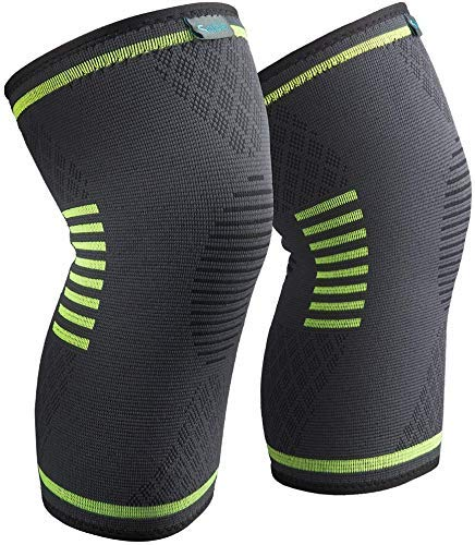 Sable Upgraded Knee Brace 2 Pack Compression Sleeves Support for Women & Men, Wraps Pads for ACL, Running, Pain Relief, Injury Recovery, Basketball and More Sports