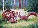 QHZCJ Pintura por números Bricolaje Ardilla del Bosque DIY Pinturas al óleo – Lino Lona Pintura guiada por números para Adultos y niños 40x50 cm (sin Marco)