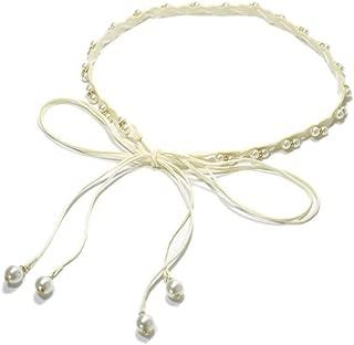 Pearl Inlay Decorative Bandage Waist Rope Fashion Joker Lady Braided Belt (Color : 02, Size : 160cm)