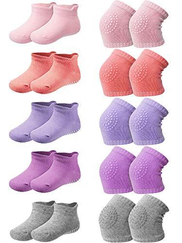 10 Pairs Baby Crawling Anti-Slip Knee Pads and Anti-Slip Baby Socks Set Unisex Toddler Knee Protectors Non Slip Ankle Socks (Multicoloured)