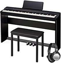 Casio PX-160 Privia Touch Sensitive 88 Key Tri Sensor Scaled Hammer Action Keyboard Digital Piano with 18 Built-In Tones Package with Bench, Stand, Keyboard Pedal and Open Ear Headphones