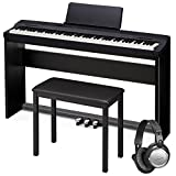 Scaled Hammer Action II Keybed Furniture Style Stand and Triple Pedalboard Included 8w x 8w Built in Speaker System Furniture Style Bench Included Headphones Included.