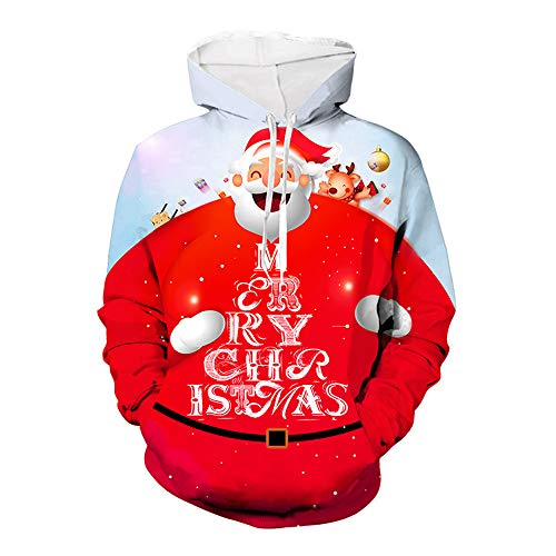 ZFQQ Weihnachten Pullover Weihnachten Pullover 3D-Druck Pullover Langarm-Pullover Weihnachten Flamingo Digitaldruck Langarm-Hoodie Baseball Uniform Pullover