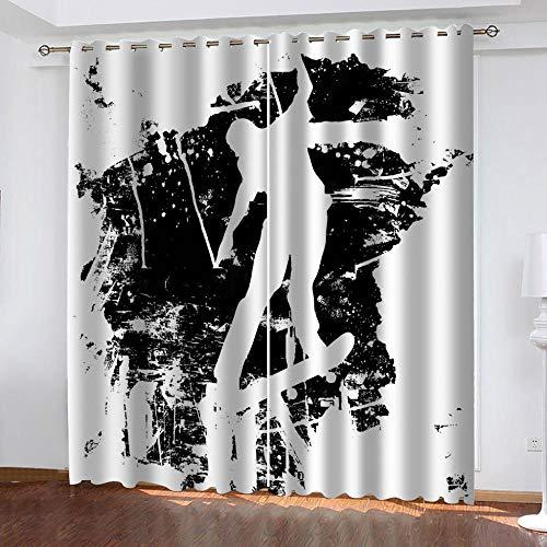 LucaSng Resumen Cortinas Opacas habitacion Infantil Graffiti En Blanco Y Negro Cortinas Opacas Salon 3D Patrón Cortinas Opacas habitacion y Dormitorio para Infantiles 117x183 cm