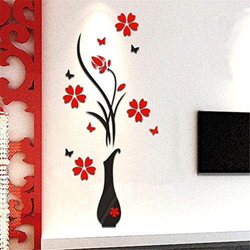 Tuscom DIY Vase Flower Tree Crystal Arcylic 3D Wall Stickers Decal Home Decor, (Style:B)