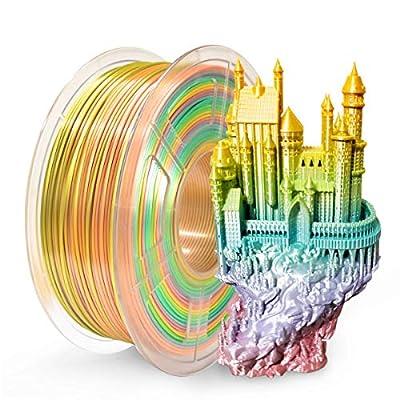 SUNLU 3D Printer Filament PLA, 1.75mm PLA Filament, 3D Printing Filament Low Odor, Dimensional Accuracy +/- 0.02 mm, 2.2 LBS (1KG) Spool 3D Filament (Silk Rainbow)