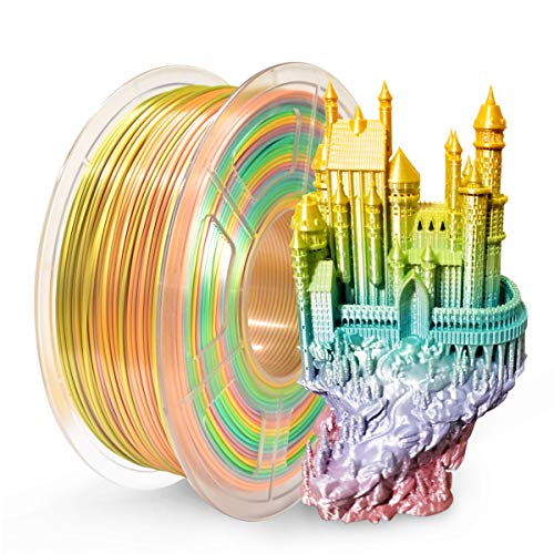 SUNLU 3D Printer Filament PLA, 1.75mm PLA Filament, 3D Printing Filament Low Odor, Dimensional Accuracy +/- 0.02 mm, 2.2 LBS (1KG) Spool 3D Filament (Silk Rainbow)